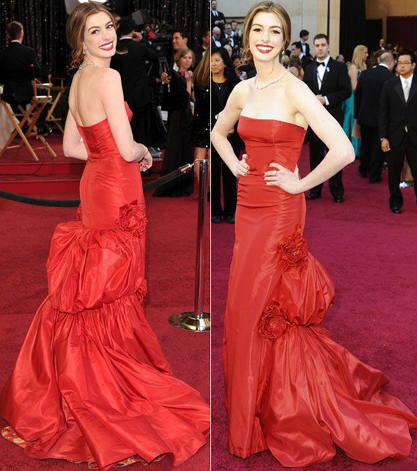 Anne Hathaway Gown: Red Carpet Red Dresses